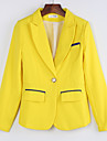 Women\'s New Arrival Hin Thin All Match Color Block Pink / Yellow Blazer , Bodycon / Work Peaked Lapel Long Sleeve