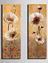 Modern Blommor/Botanik Väggklocka,Rektangulär Kanvas 24 x 70cm(9inchx28inch)x2pcs/ 30 x 90cm(12inchx35inch)x2pcs Inomhus Klocka