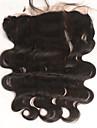 """10""""20"""" Svart Handknuten Kroppsvågor Mänskligt hår Stängning Medium Brun Schweizisk spets 30-90 gram Medel Mösstorlek"""