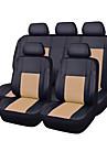 piele 11pcs PU negru cu auto bej auto-acoperă setul complet sintetic huse pentru scaune