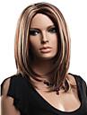 brun couleur mixte perruques droites moyennes blondes capless perruques synthetiques pour les femmes