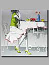 HANDMÅLAD Abstrakt Människor Fyrkantig,Moderna Klassisk En panel Kanvas Hang målad oljemålning For Hem-dekoration
