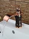 Contemporary Brass Rose Gold Bathroom Sink Faucet