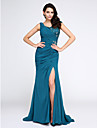 Mermaid / Trumpet V-neck Sweep / Brush Train Chiffon Evening Dress with Appliques Crystal by TS Couture®