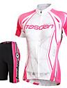 TASDAN® Maillot et Cuissard de Cyclisme Femme Manches courtes VeloRespirable / Sechage rapide / La peau 3 densites / Bandes