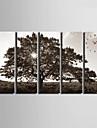 Moderne/Contemporain Autres Horloge murale,Rectangulaire Toile 24 x 70cm(9inchx28inch)x5pcs/ 30 x 90cm(12inchx35inch)x5pcs Interieur