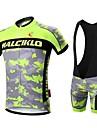 MALCIKLO® Cykeltröja med Bib-shorts Herr Kort ärm CykelAndningsfunktion / Snabb tork / Dragkedja fram / Bärbar / Hög andningsförmåga