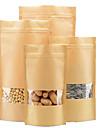 fenetre ziplock kraft 14 * 22 sachets de the kraft sacs alimentaires en papier usine directe un paquet de dix