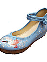 Homme-Decontracte-Bleu Beige-Talon Plat-Confort Mary Jane-Ballerines-Toile