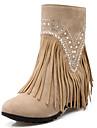 Chaussures Femme-Habille / Decontracte / Soiree & Evenement-Noir / Marron / Jaune / Rouge / Amande-Talon Compense-Bout Arrondi / Bottes a