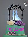 Vârfuri de Tort Nepersonalizat Cuplu Clasic Acrilic Nuntă Flori Negru Temă Clasică 1 Cutie de Cadouri