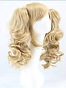 heta lång lolita peruk hästsvansar värmebeständigt vågiga syntetiska peruker lockigt blond två hästsvans anime peruk