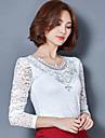 Damă În V Bluză Ieșire Casul/Zilnic Plus Size Drăguț(e) Șic Stradă,Mată Manșon Lung Primăvară Toamnă-Mediu Poliester