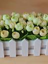 Set of 1 PCS 1 Gren Polyester Roser Bordsblomma Konstgjorda blommor 2.7