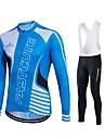 Fastcute Maillot et Cuissard Long a Bretelles de Cyclisme Homme Femme Unisexe Manches Longues Velo Pantalon/Surpantalon Survetement