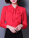 Mulheres Blusa Casual Vintage / Simples Verao,Solido Vermelho / Branco / Preto Acrilico / Poliester Colarinho de Camisa Manga Longa Opaca