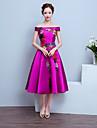 Tee-Laenge Satin Elegant Brautjungfernkleid - A-Linie Schulterfrei mit Applikationen