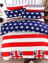 bedtoppings couette couverture couette couette 4pcs definir la taille de la reine feuille plate motif taie drapeau imprime microfibre