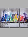HANDMÅLAD Abstrakt Landskap olje~~POS=TRUNC,Moderna Tre paneler Kanvas Hang målad oljemålning For Hem-dekoration
