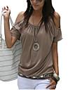 Mulheres Camiseta Casual / Tamanhos Grandes Simples / Moda de Rua Verao,Solido Rosa / Vermelho / Branco / Bege / Preto / AmareloAlgodao /