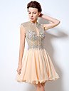 Cocktail Party Dress - Open Back Sexy Short A-line Jewel Short / Mini Chiffon with Beading Crystal Detailing