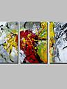 Peint a la main Abstrait Panoramique Horizontale,Moderne Style europeen Trois Panneaux Toile Peinture a l\'huile Hang-peint For Decoration