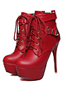 Homme-Exterieure Habille Decontracte-Noir Rouge Blanc-Talon Aiguille-club de Chaussures-Bottes-Similicuir Polyurethane