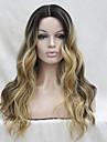 brun fonce resistant a la chaleur de qualite avec blond dore a trois tons ondules ombre avant de dentelle longue perruque