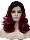 vinröd långt lockigt hår och vinden nattklubb föreställningar gata färg miljoner med partiell peruk.