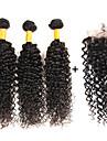 Trame cheveux avec fermeture Cheveux Bresiliens Tres Frise 6 Mois 4 Pieces tissages de cheveux