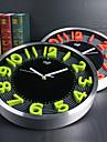 Moderne/Contemporain Famille Horloge murale,Rond Aluminium 12 INCH Interieur Horloge