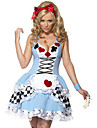 Costumes de Cosplay / Costume de Soiree Vampire Fete / Celebration Deguisement Halloween Bleu Mosaique Robe Halloween Feminin Terylene