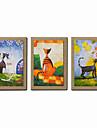 HANDMÅLAD Abstrakt / Människor / fantasi / Abstrakta porträtt olje~~POS=TRUNC,Moderna Tre paneler Kanvas Hang målad oljemålning For