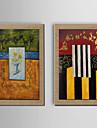 Peint a la main Personnage / Fantaisie Peintures a l\'huile,Modern Deux Panneaux Toile Peinture a l\'huile Hang-peint For Decoration