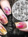 2017 senaste versionen mode mönster blomma nagel konst stämpling bild mall plattor