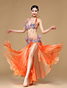Belly Dance Outfits Performance Chiffon Cotton Polyester Beading Crystals/Rhinestones Paillettes Flower(s) Ruffles 2 Pieces Sleeveless