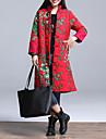 Dame Vintage Lung Căptușit Palton,Floral Casul/Zilnic / Plus Size Manșon Lung Bumbac Poliester Stand Roșu