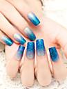 24pcs / set bandes de clous clignotent en poudre degrade bleu charmant et sexy