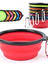 Hund Skålar & Vattenflaskor Husdjur Skålar & Feeding Bärbar / Vikbar Röd / Svart / Grön / Blå / Rosa / Gul / Purpur / Orange Silikon