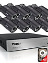 8pcs sistem zosi®hd 8CH 720p securitate CCTV 1200tvl camere IR de supraveghere AHD 720p în aer liber cu 1TB