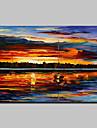 Peint a la main Abstrait / Paysages Abstraits Peintures a l\'huile,Modern Un Panneau Toile Peinture a l\'huile Hang-peint For Decoration