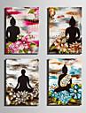 panza Set Oameni / Floral/Botanic Stil European,Patru Panouri Canava Vertical print Arta Decor de perete For Pagina de decorare