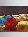 Peint a la main Nu / Portraits Abstraits Peintures a l\'huile,Style europeen / Modern Un Panneau Toile Peinture a l\'huile Hang-peint For