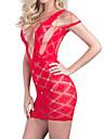 Feminin Ultra Sexy Pijamale,Mediu Spandex-Dantelă Solid Roșu / Negru