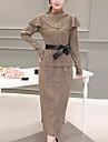 Dame Rotund Set Fustă Costume Ieșire / Plus Size Șic Stradă,Mată Manșon Lung Toamnă / Iarnă-Negru / Gri / Auriu Mediu Poliester