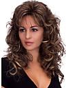 Capless lång kropp våg fluffiga medel bang sidan syntetiska peruker för kvinnor mörkbrun värmebeständiga med gratis hårnät