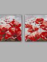 HANDMÅLAD Abstrakt / Blommig/Botanisk olje~~POS=TRUNC,Moderna / Klassisk Två paneler Kanvas Hang målad oljemålning For Hem-dekoration