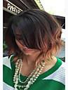 charmante ombre perruque haute temperature resistant a la chaleur courte remorquage couleur ton noir au brun vague raie au milieu perruque
