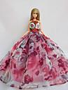 Fete / Soiree Robes Pour Poupee Barbie Fuchsia Imprime Robes Pour Fille de Doll Toy