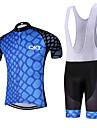 Sportif Maillot et Cuissard a Bretelles de Cyclisme Homme Manches courtes VeloRespirable / Sechage rapide / Design Anatomique / Doublure